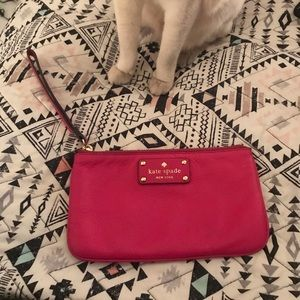 Authentic pink Kate Spade leather wristlet